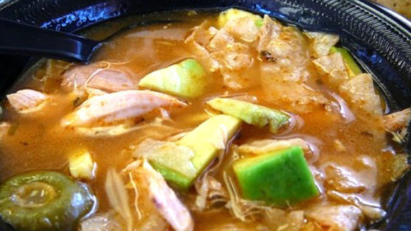 Famous chicken tortilla soup at El Rey Taqueria