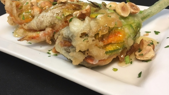 Chef Doug Levy reviews Fried squash blossoms at Feast