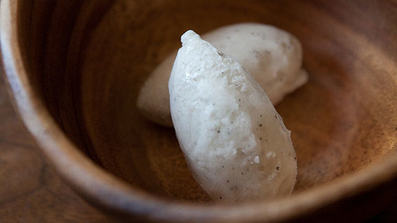 Salt & pepper sorbet at Uchi
