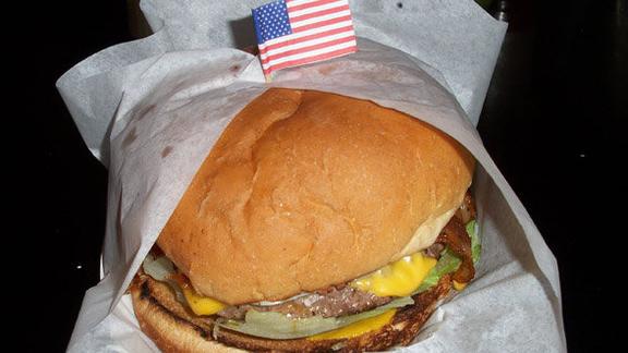 Double buffalo cheeseburger at Bubba's Texas Burger Shack