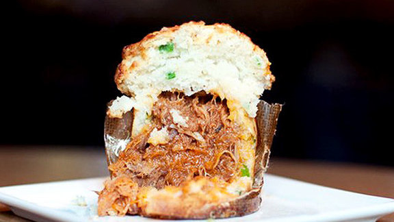 Chef Bryan Voltaggio reviews BBQ pulled pork cupcake at Bourbon Steak