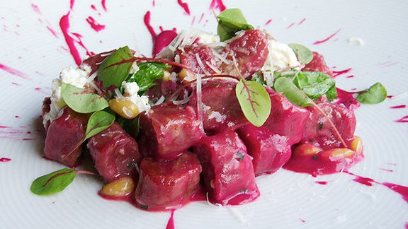 Beet & potato gnocchi at Bourbon Steak