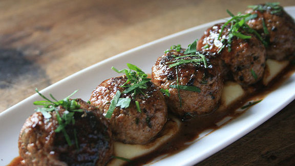 Veal meatballs at Town Hall Restaurant