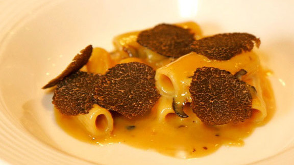 Ridged pasta w/ duck liver at Acquerello
