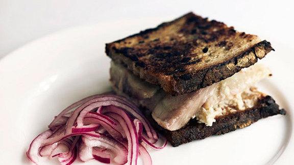Smoked eel & horseradish sandwich at Quo Vadis