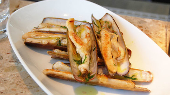 Grilled razor clams w/ olive oil & shallots at Barrafina