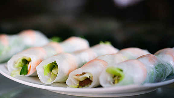 Chef Anthony Demetre reviews Summer rolls at
