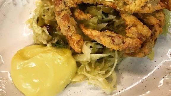 Fried softies with sauerkraut salad and mayonnaise at Locanda