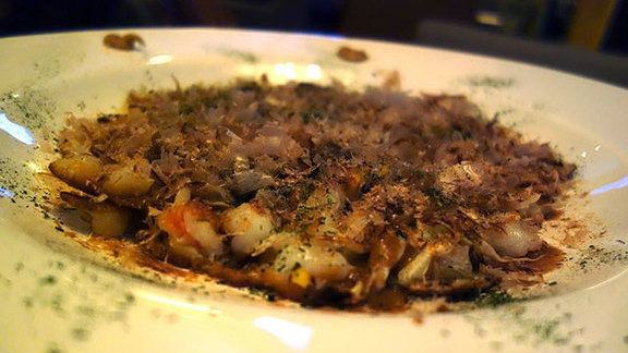 Chef John Tesar reviews Buckwheat pancake w/ seafood  at Tei-An