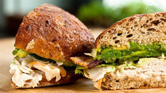 Turkey, bacon + avocado sandwich at Homegrown