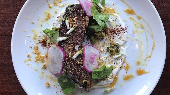Chef Matthew Bullock reviews Beef with radishes and greens at Lord Hobo