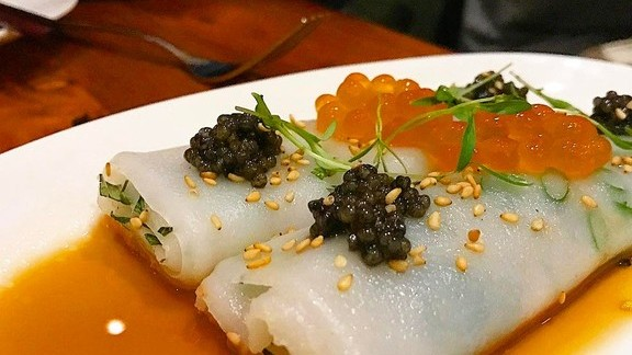 Cheong fun with caviar at Mister Jiu's