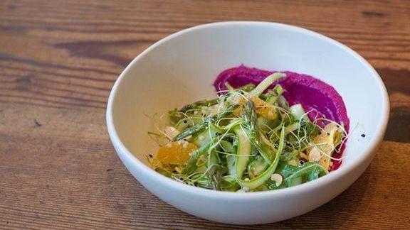 Shaved asparagus salad with beet hummus and citrus at Nopa