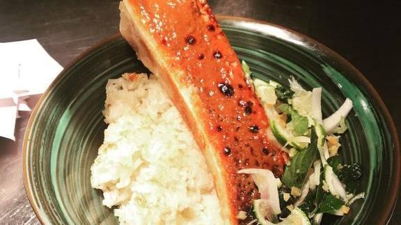 Bone marrow brûlée with herbs and rice at Tiger Mama