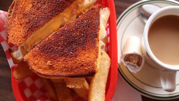 Grilled cheese, thick-cut fries and coffee at Harry's Char Broil & Dining Lounge