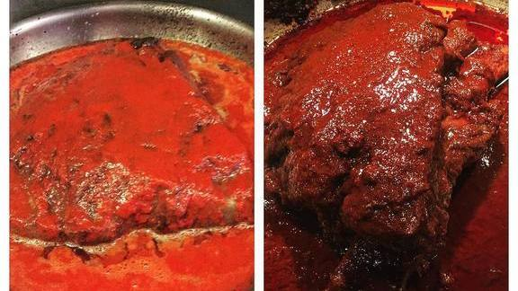 Recipe testing smoked beef short rib, braised in Spanish choricero pepper broth at Duende