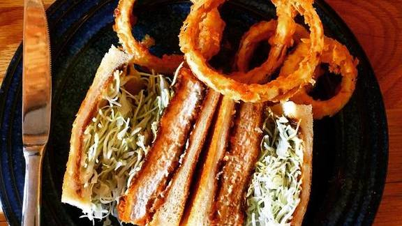 Roll with slaw and onion rings at Tsubaki