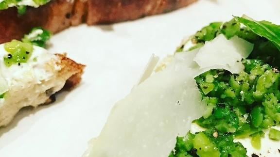 Bread with ricotta, fava beans, mint, and pecorino at Lilia