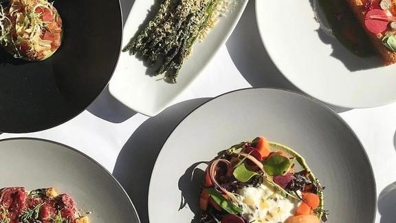 White Asparagus, Wagyu Carpaccio and Burrata at Boulud Sud