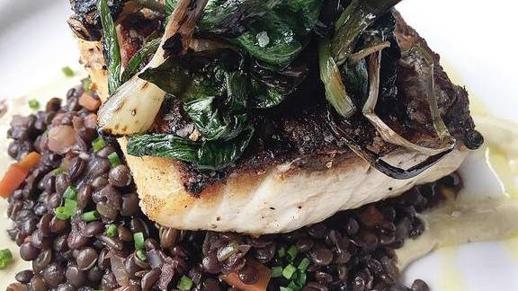 Rockfish with lentils, tahini, and grilled ramps at Brasserie Beck