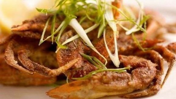 Chef Suzanne Tracht reviews Soft-shell crab lightly dusted with semolina flour and served with a spicy mustard butter at Jar Restaurant