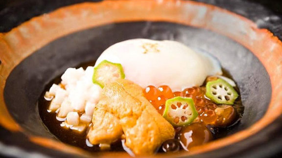Poached egg w/ sea urchin & salmon roe at Abriya Raku