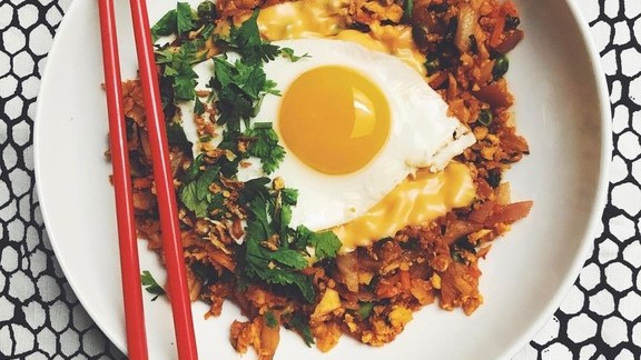 Kimchi fried rice with an egg and American cheese at Black Dolphin Inn