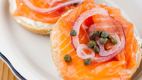 Bagel with hand-sliced lox at Beauty's Bagel Shop