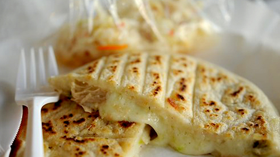 Chef Susan Feniger reviews Loroco pupusa at