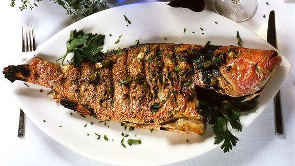 Grilled branzino at Estiatorio Milos