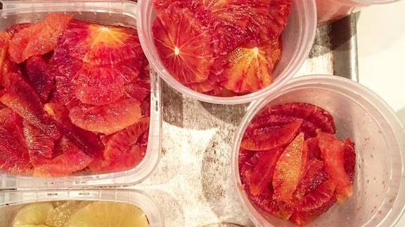 Blood orange, lemon citrus segments at Sqirl Kitchen