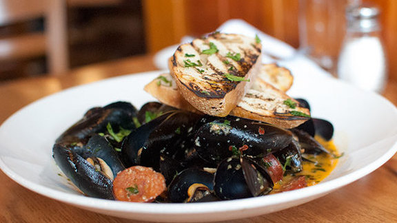 Steamed mussels at The Fishery