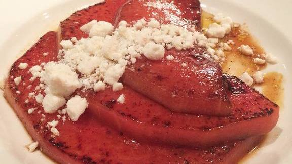 Three sisters watermelon, caramelized on the griddle with EVO, lemon and ricotta salata  at Vistro