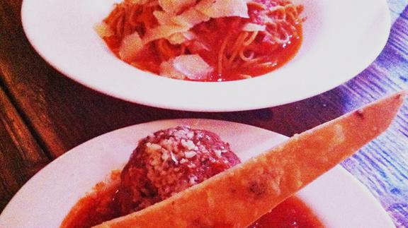Sunday night spaghetti & meatballs at Extra Virgin