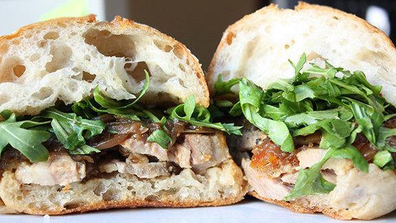 Chef Bryant Ng reviews Porchetta sandwich at Roli Roti At Alameda Farmer's Market