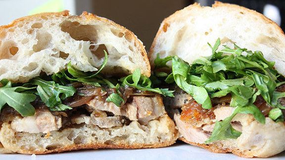 Porchetta sandwich at Roli Roti At Alameda Farmer's Market