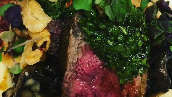 Chef Amalia Scatena reviews NY strip, garlic chips, shiso, maiitake mushrooms, chimichurri at The Restaurant at Cannon Green