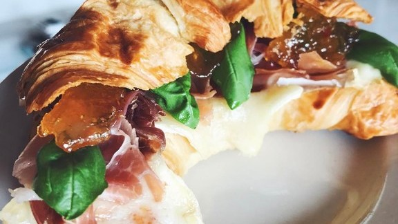 Croissant with brie, prosciutto, basil, and ginger jam at Black Dolphin Inn