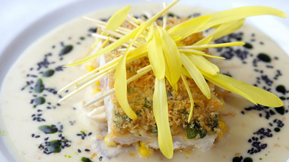 Chef Vikram Garg reviews Ginger crusted onaga at