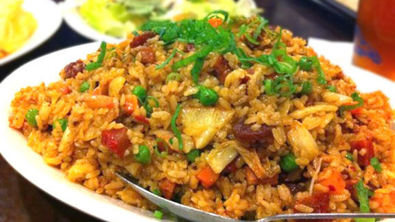 """Side Street Works"" fried rice at Side Street Inn on the Strip"