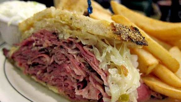 Hot pastrami & swiss sandwich at Brent's Deli