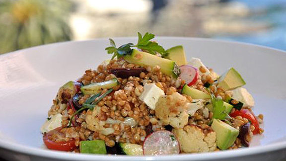 Chef Karen Krasne reviews Anson mills farro salad at George's At The Cove
