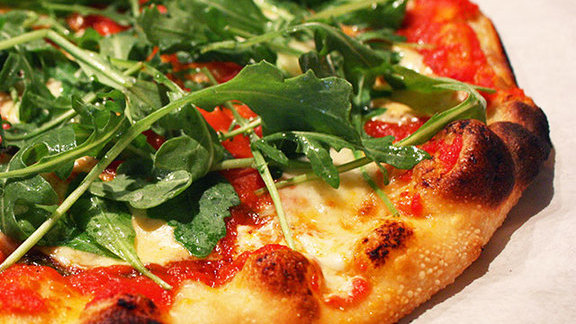 San Marzano, mascarpone, & arugula pizza at Pizzetta 211