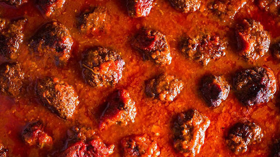 Neapolitan meatballs at Pizzeria Delfina