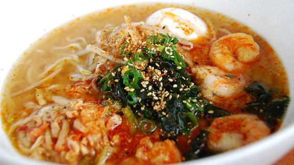 Shrimp kim chee bowl at Lucky Belly