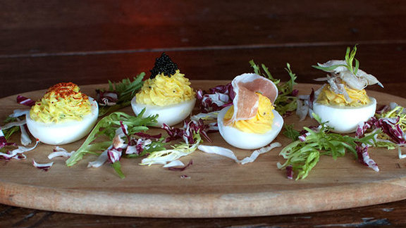 Embellished deviled eggs at The Lion's Share