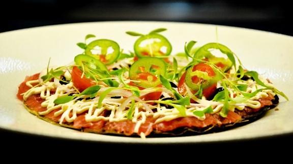 Tuna pizza at Morimoto