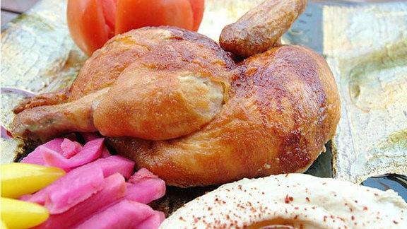 Roasted chicken plate at Zankou Chicken