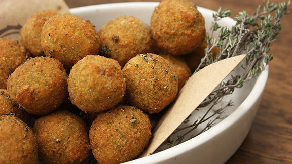 Chef Gayle Pirie reviews Fried Castelvetrano olives at Locanda