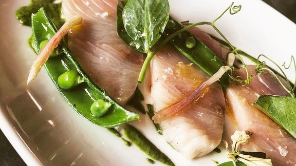 Hamachi, pea tendrils, salsa verde and pickled ramps at
